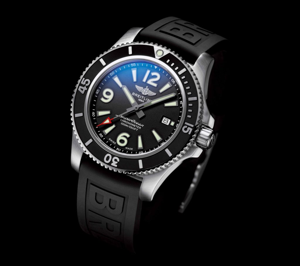 Superocean 44 with black dial and black Diver Pro III rubber strap
