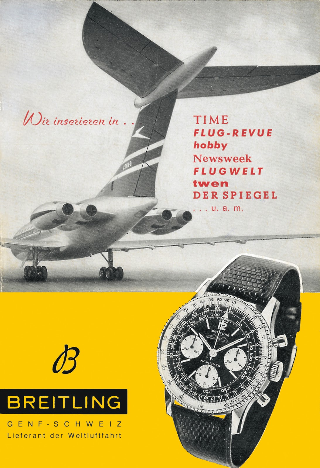 1960's Breitling advertisement with the legendary Navitimer (PPR/Breitling)